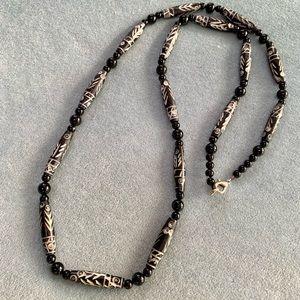 ⭐️2 for $10 Vintage Carved Bone Black Beaded Necklace